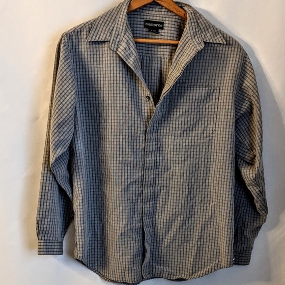 Claiborne Other - Gray Checkered Mens Dress Shirt by Claiborne XL